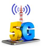 G and  smartphone. 5G on the smartphone and a communications tower. 3d rendering Stock Images