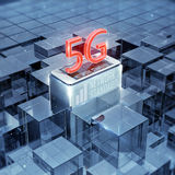 5G smartphone and text, sign, cellular high speed data wireless connection abstract glass background 3d render Stock Images