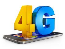 4G and smartphone. On a white background. 3d rendering Stock Illustration