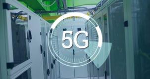 5G som är skriftlig i mitt av futuristiska cirklar 4k