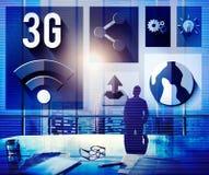 3G som knyter kontakt anslutningsbegrepp för globala kommunikationer Royaltyfri Bild