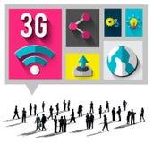 3G som knyter kontakt anslutningsbegrepp för globala kommunikationer Fotografering för Bildbyråer