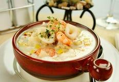 gęsta zupa rybna owoce morza Zdjęcie Royalty Free