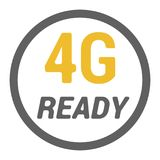 4g sticker with READY word and signal level dots. Flat 4g sticker for device with READY word and signal level dots stock illustration
