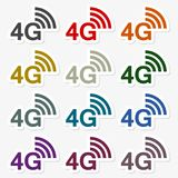 4G sticker set. Vector icon Royalty Free Stock Images