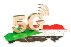 5G in Sudan concept, 3D rendering. Isolated on white background Stock Photos