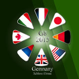 G8 summit infographic. Illustration releated to G8 summit in germany in 2015 with eight flags in triangles and with sign and year in the middle and with place of royalty free illustration