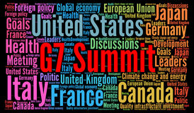 G7 summit word cloud concept Stock Images