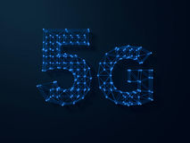 5G symbol on dark digital background. 3D Stock Photo