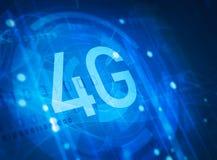4G symbol on digital background. 4G symbol on blue digital background Royalty Free Stock Photos