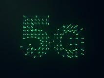 5G symbol na ciemnym cyfrowym tle 3d Zdjęcie Royalty Free
