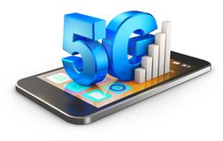 5G and smartphone. 5G symbol and smartphone on a white background . 3d rendering stock illustration