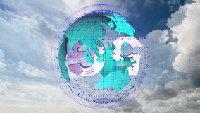 The 5g symbols rotate inside the earth model against the background of the cloud sky time-lapse, the video loop stock footage