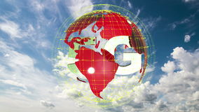 The 5g symbols rotate inside the earth model against the background of the cloud sky time-lapse, the video loop, alpha stock footage