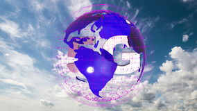 The 5g symbols rotate inside the earth model against the background of the cloud sky time-lapse, the video loop, alpha. The 5g symbols rotate inside the earth stock video
