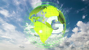 The 5g symbols rotate inside the earth model against the background of the cloud sky time-lapse, the video loop, alpha. The 5g symbols rotate inside the earth stock footage