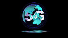 The 5g symbols rotate inside the earth model, the video loop. The 5g symbols rotate inside the earth model the video loop stock video footage