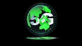 The 5g symbols rotate inside the earth model, the video loop stock video