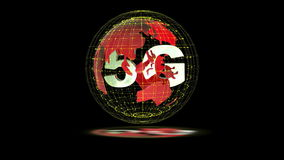 The 5g symbols rotate inside the earth model, the video loop stock video footage