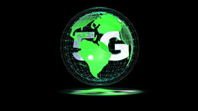 The 5g symbols rotate inside the earth model, the video loop, the alpha channel. The 5g symbols rotate inside the earth model the video loop, the alpha channel stock video