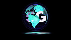 The 5g symbols rotate inside the earth model, the video loop, the alpha channel stock video footage