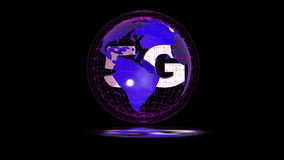The 5g symbols rotate inside the earth model, the video loop, the alpha channel. The 5g symbols rotate inside the earth model the video loop, the alpha channel stock video footage
