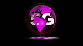 The 5g symbols rotate inside the earth model, the video loop, the alpha channel stock footage