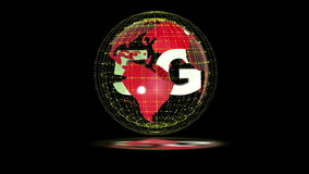 The 5g symbols rotate inside the earth model, the video loop, the alpha channel. The 5g symbols rotate inside the earth model the video loop, the alpha channel stock footage