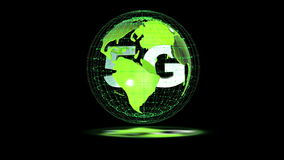 The 5g symbols rotate inside the earth model, the video loop, the alpha channel stock video