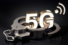 5G symbool in handcuffs Juridische problemen rond carrières, exploitanten, rekeningen, voor het concept van hoge snelheidsnetwerk royalty-vrije illustratie