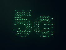 5G symbool op donkere digitale achtergrond 3d Royalty-vrije Stock Foto
