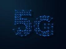 5G symbool op donkere digitale achtergrond 3d Stock Foto