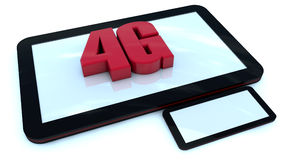 4G tablet. 3d red extrude text 4G and tablet royalty free illustration