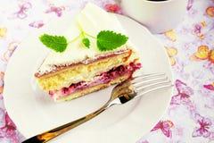 G?teau de meringue de framboise Photo stock