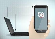 5G technologielaptop en van de het kaderlijn van de smartphonemeetkunde de dwarsachtergrond van het de illustratiemalplaatje vect stock illustratie