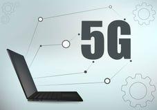 5G technologii przek?adni i laptopu geometrii krzy?a ramowej linii szablonu wektorowy futurystyczny ilustracyjny t?o z rozjarzon? royalty ilustracja