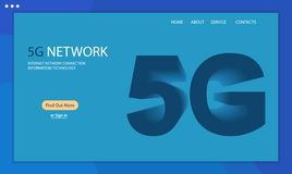 5G technology background. Template web page, isometric 5G. New generation mobile networks and internet. 3D vector illustration stock illustration