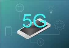 5g technology concept. Can use for web banner, infographics. Flat isometric vector illustration. Realistic telephone and stock illustration