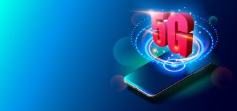 5G Technology and Mobile Networks Concept on Colorful Background. stock illustration