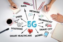5g tehnology concept. Chart with keywords and icons royalty free stock images
