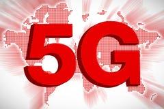 5G telecommunicatieconcept met Wereldkaart, het 3D Teruggeven Stock Afbeeldingen