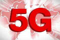5G Telecommunication Concept with World Map, 3D Rendering. 3D rendering of 5G telecommunication concept with world map background royalty free illustration