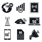 5G telecommunications icons set, simple style. 5G telecommunications icons set. Simple set of 5G telecommunications vector icons for web design on white stock illustration