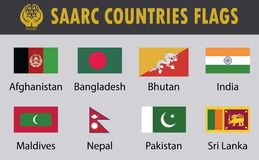 Flag set of SAARC Countries royalty free illustration