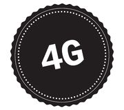 4G text, on black sticker stamp. 4G text, on black sticker stamp sign Royalty Free Stock Photos