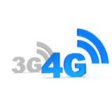4g. Text in blue with wireless symbol Royalty Free Stock Photos
