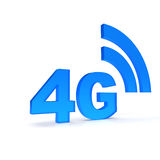4G. Text in blue with wirless symbol Stock Photos