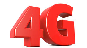 4G Text. 3d red extrude text 4G royalty free illustration