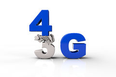 4G text falling and breaking a 3G text. Over white background Royalty Free Illustration