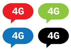 4G text, on rectangle speech bubble sign. 4G text, on rectangle speech bubble sign, in color set Stock Image